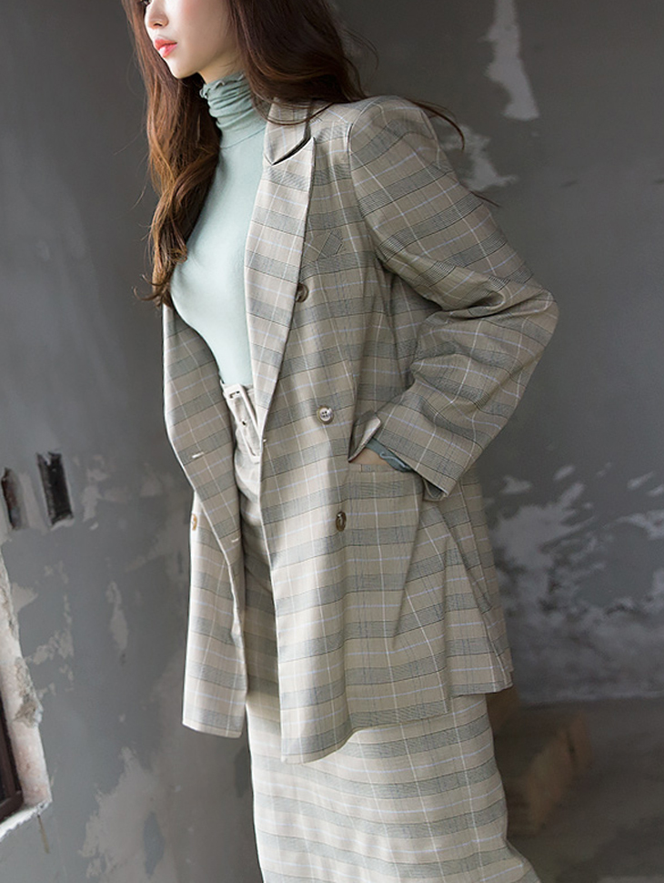 J543 simple double button Check Jacket