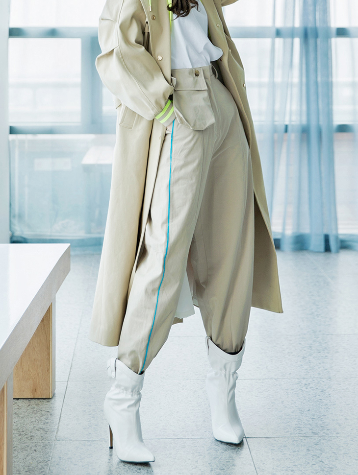 P2003 Side Color line Pocket Pants (removable pocket) * Ivory color *