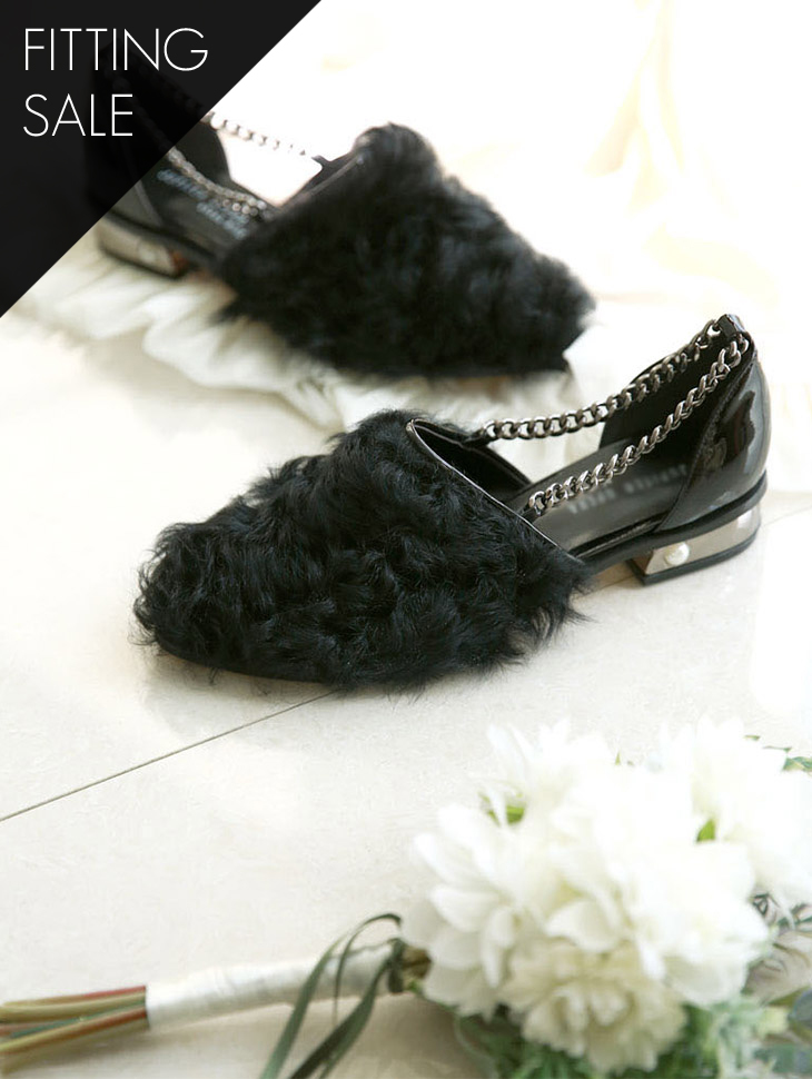 PS1523 chain Fur low shoes * HAND MADE ** Fitting sale *