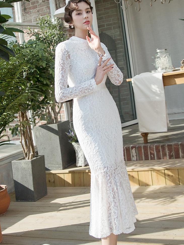 D3747 Kelvia Lace Mermaid Dress