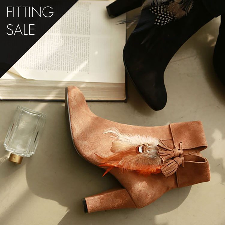 PS1526 Suede Braid Feather Ankle Boots * HAND MADE ** Fitting Sale *