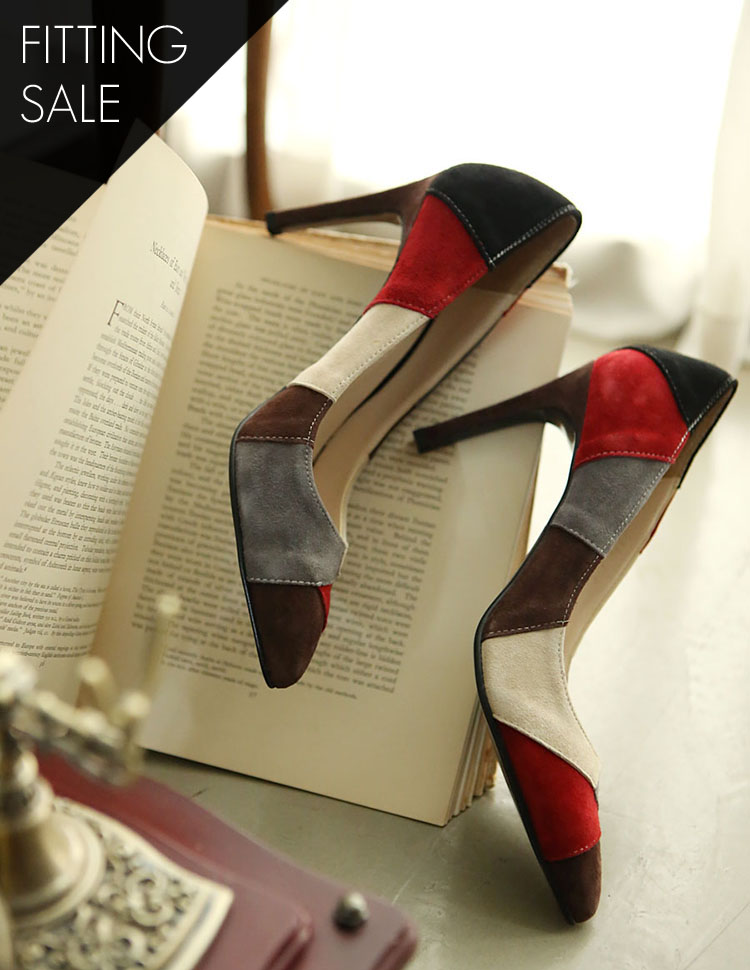 PS1532 triple Suede Pumps Heel * HANDMADE ** Fitting Sale *