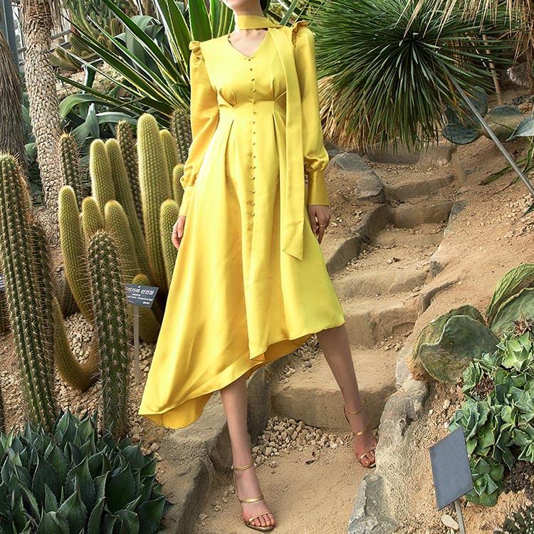 D9062 Shoulder Ruffle Diagonal Vivid Dress (Scarf set)