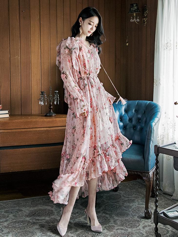 D3492 Solid Flower Frill Dress (Inner, Beltset) (33reorder)
