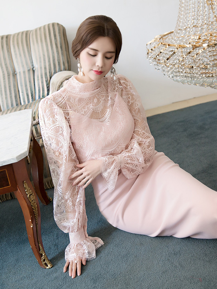 B2358 antique Lace See-through Blouse (20th REORDER)