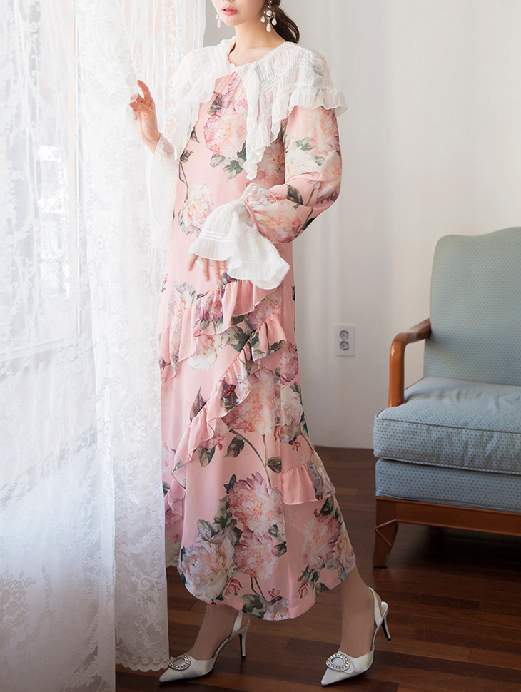 D3759 Le Belle Rose Untitled Chiffon Dress (Scarf set)