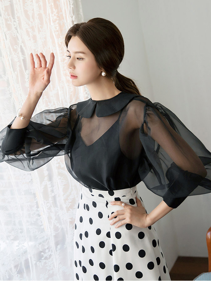 B2399 Big Puff See-through look Blouse (front and back)