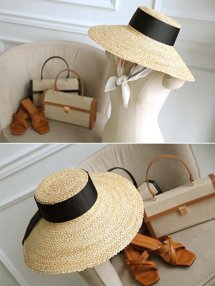 AC-517 Wide Black line Raffia Hat