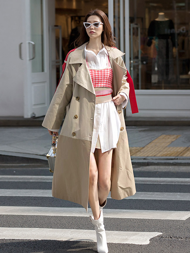 J580 Season Color Arrangement of colors Trench Coat (Beltset) * Purple mix, Beige mix color *