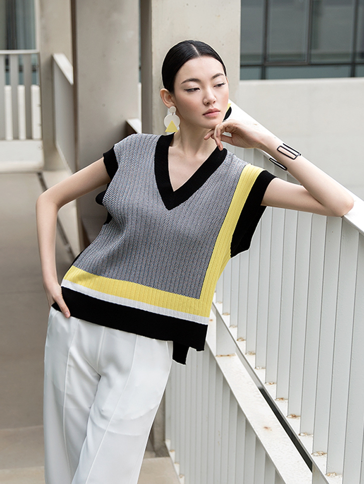 E1926 Amber Color Point Knit Vest