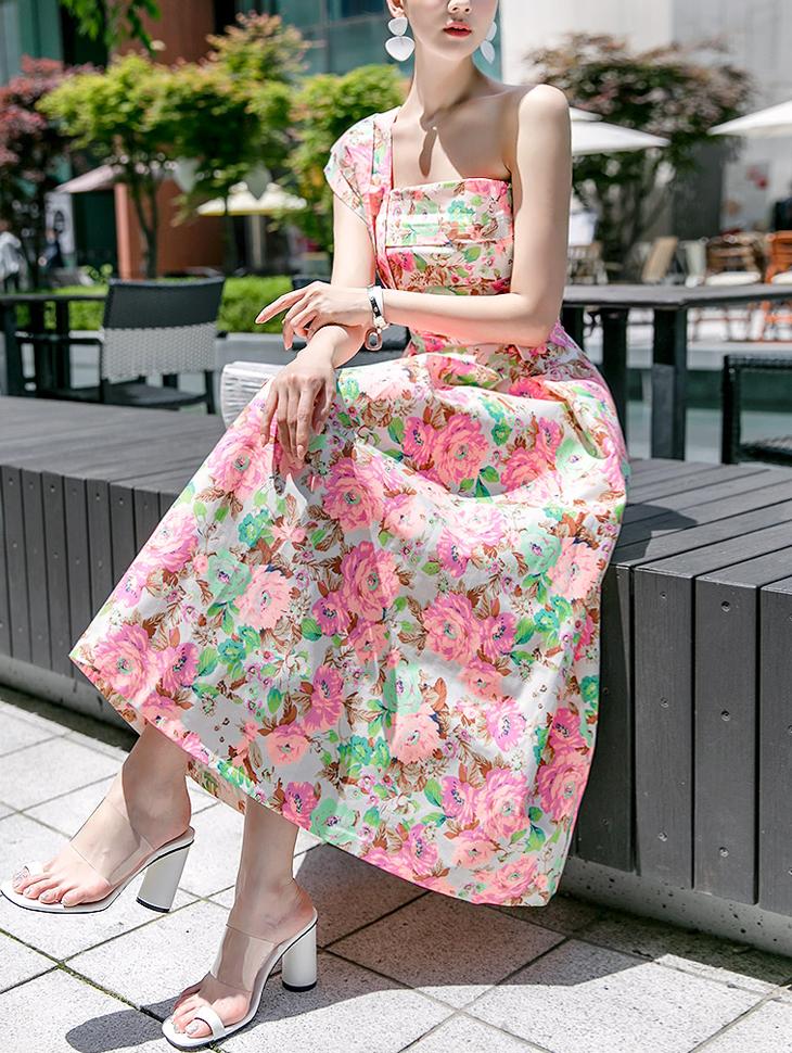 D3355 One Shoulder Flower Girl Dress