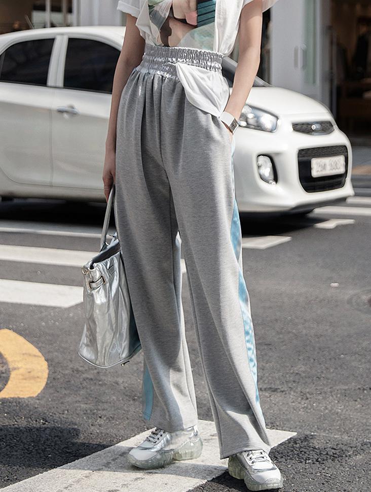 P2002 Slit line Color Track Pants * Ivory color *