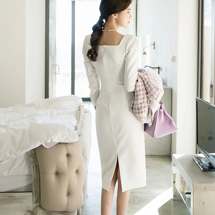 D3766 Sourced Square Neck Dress * Lsize production * (6reorder)