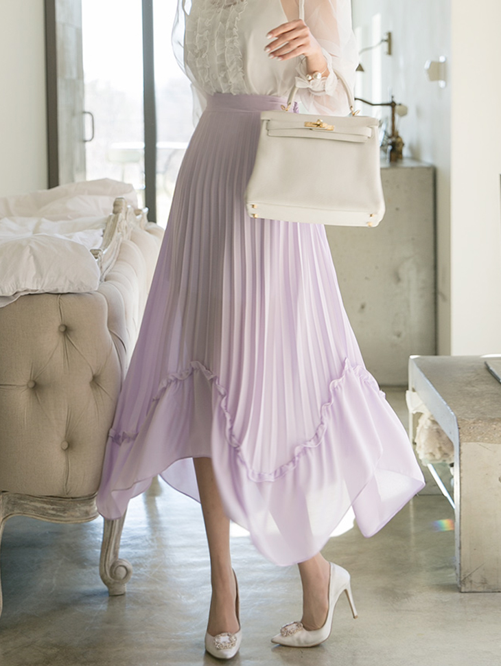 SK1685 Scoby Unbalance Pleats Skirt (3reorder)