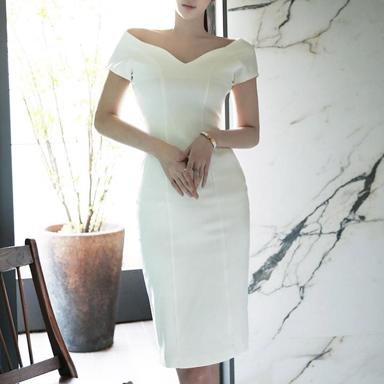 D3299 Relieved V Shoulder Dress * L Size * (102reorder)