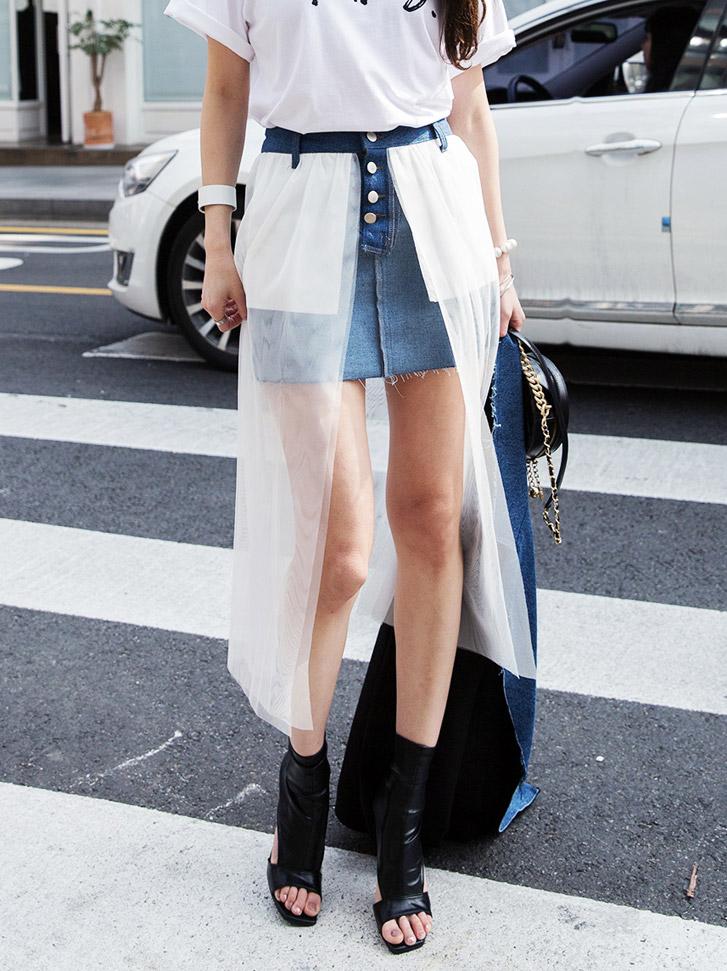 SK1874 Mesh Minimal Denim Skirt (3reorder)