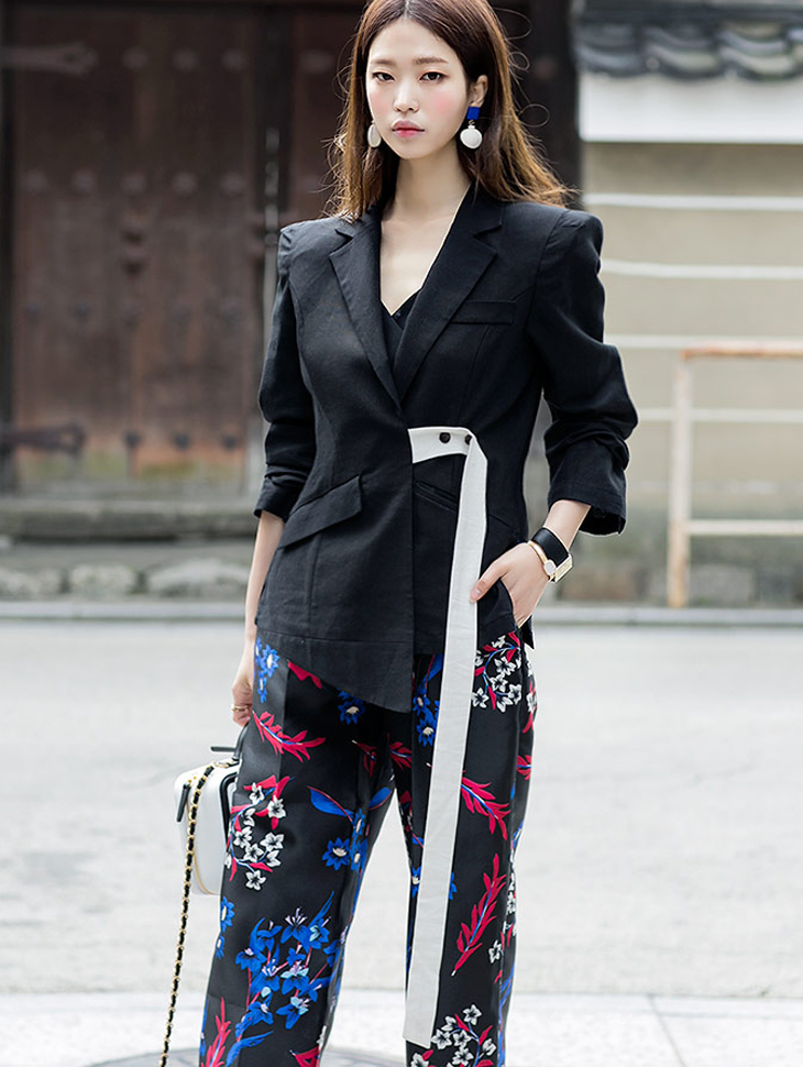J-4924 To Face Strap color combination Linen Jacket (12reorder)