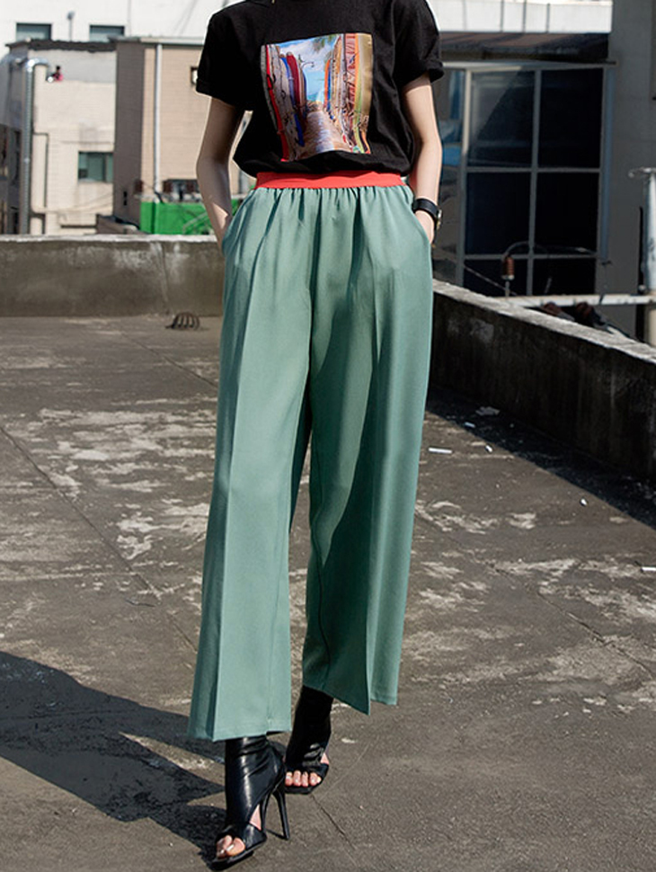 P2030 Poin Color Banding Wide Pants