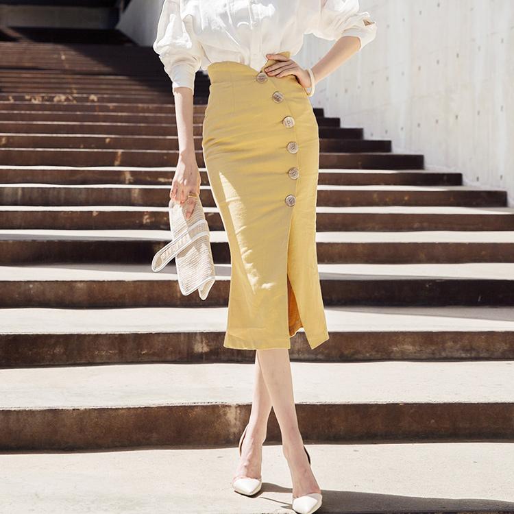 SK1878 Volume Round Button Linen Skirt * Making Size L * (15reorder)