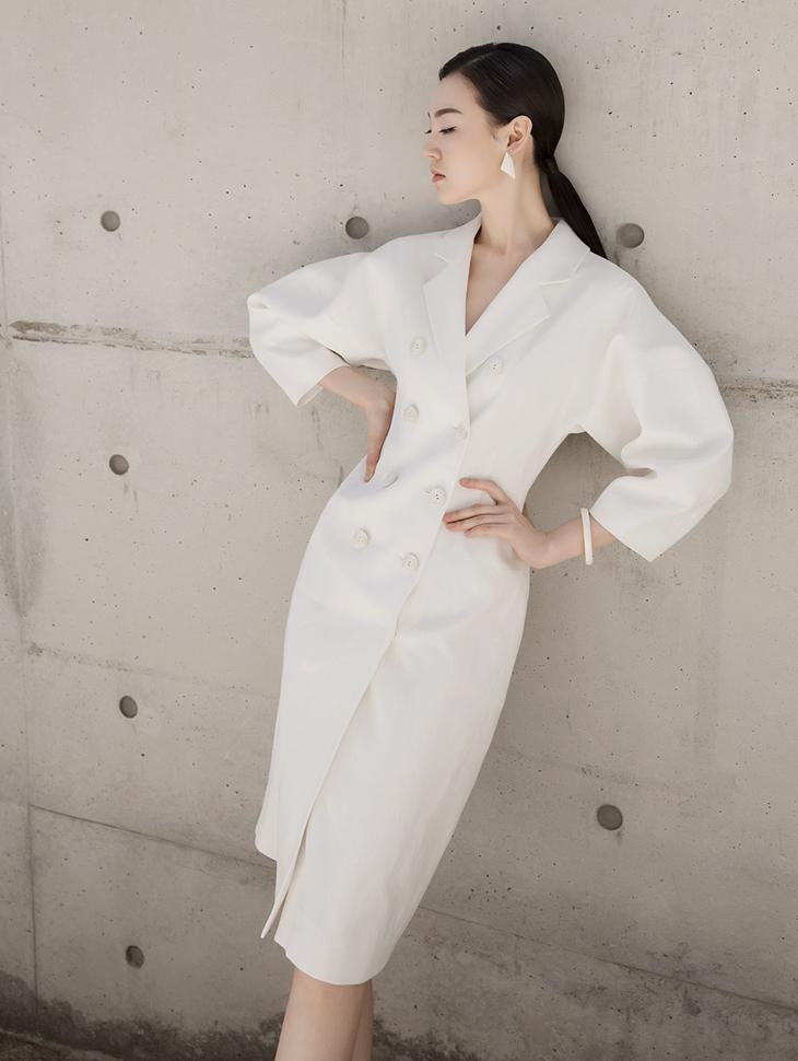 D3776 Layla Linen Formal Button Dress