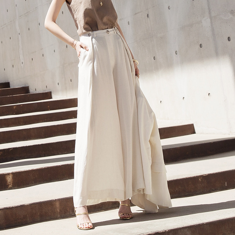 P2032 Two button pin tuck Line Wide Pants (15reorder)