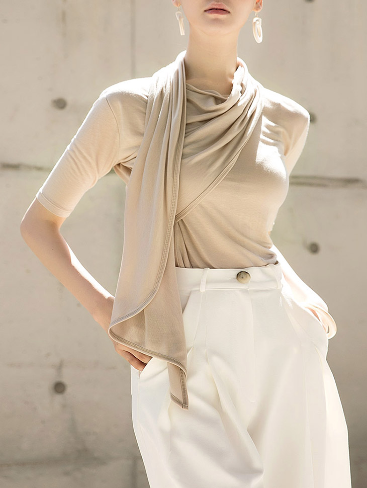 E1957 Yolene Scarf Line Stretch Top (24th REORDER)