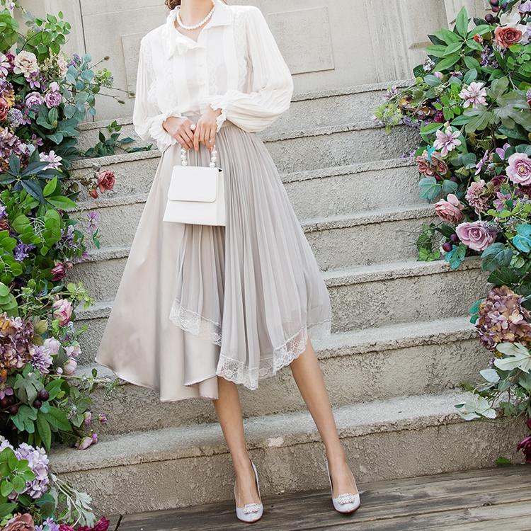 SK1886 Berise Chiffon Lace Skirt (9reorder)
