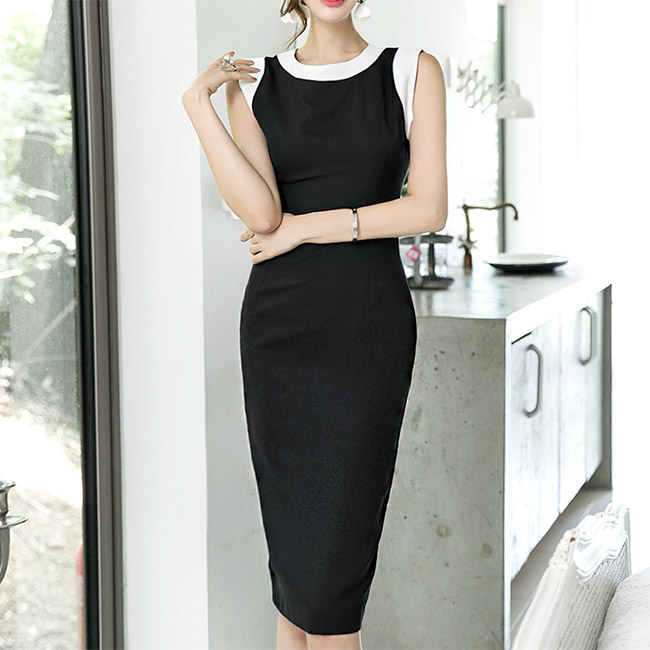 D3603 Half Ring Arrangement of colors Slim Sleeveless Dress * L size * (47reorder)