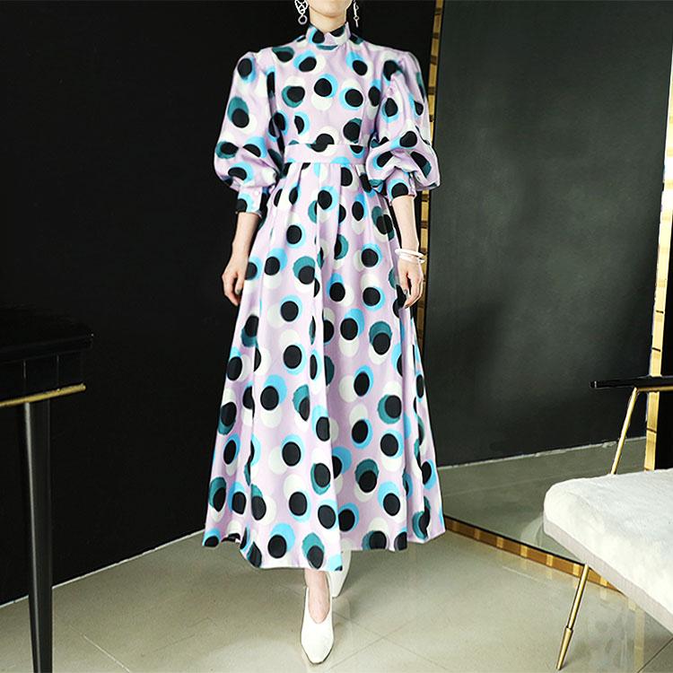 D9064 Double Fabric Dot Dress