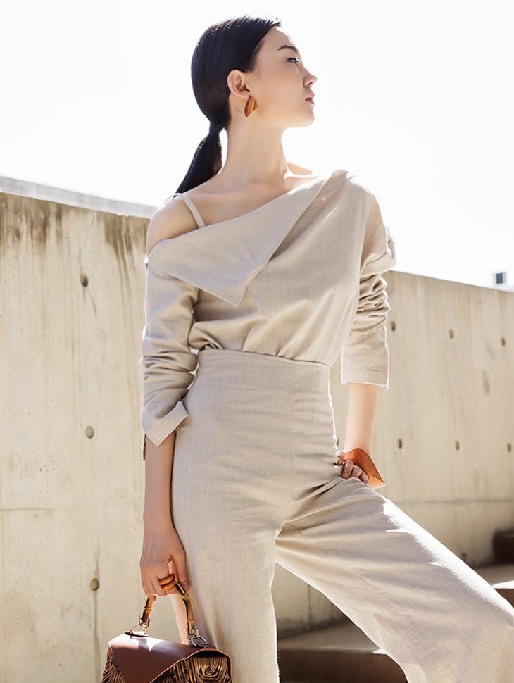 B2409 Wrap Un-Shoulder Poin Linen Blouse