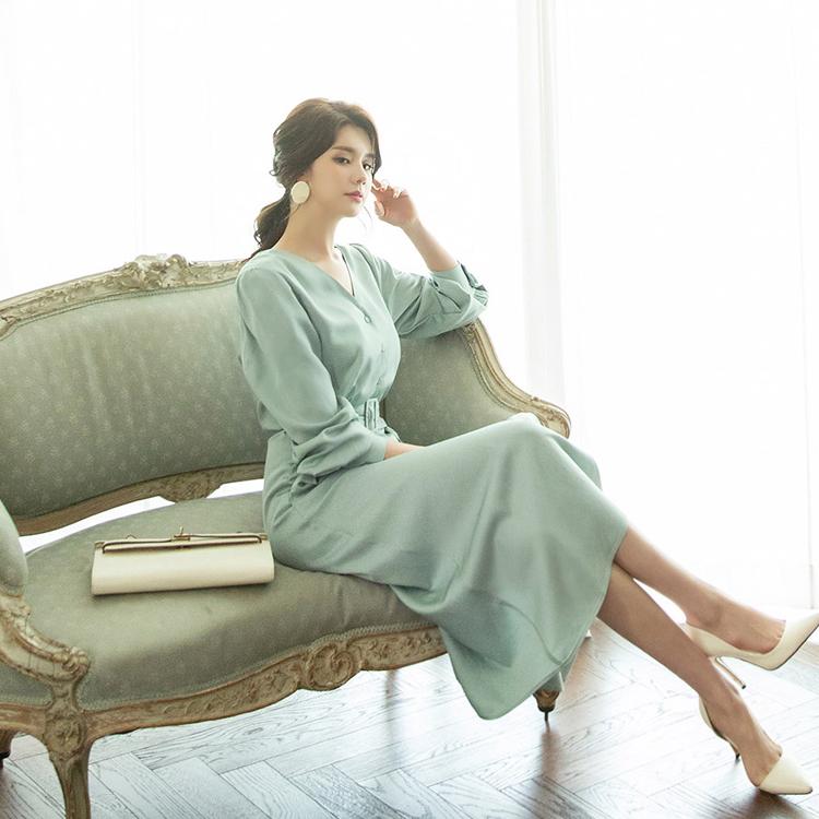 D3785 Rayne V-neck Soft Dress (belt set)