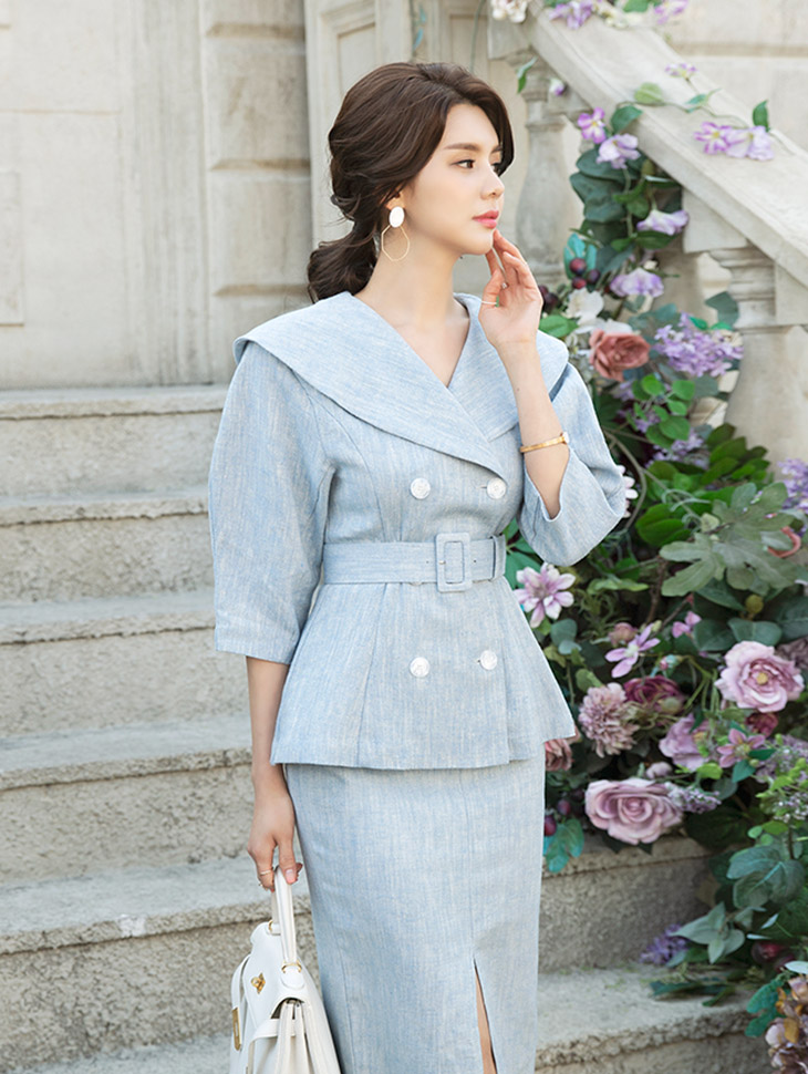 J639 Lone Wide Color Linen Jacket (Beltset) * L size production * (15reorder)