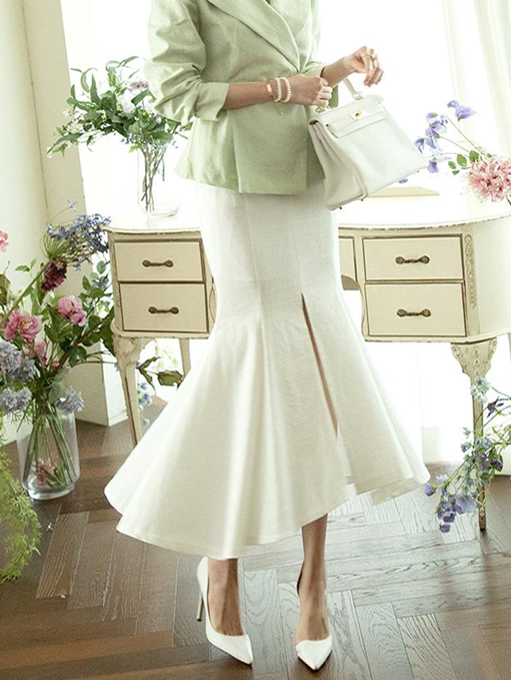 SK1883 Linen Front Slit Skirt