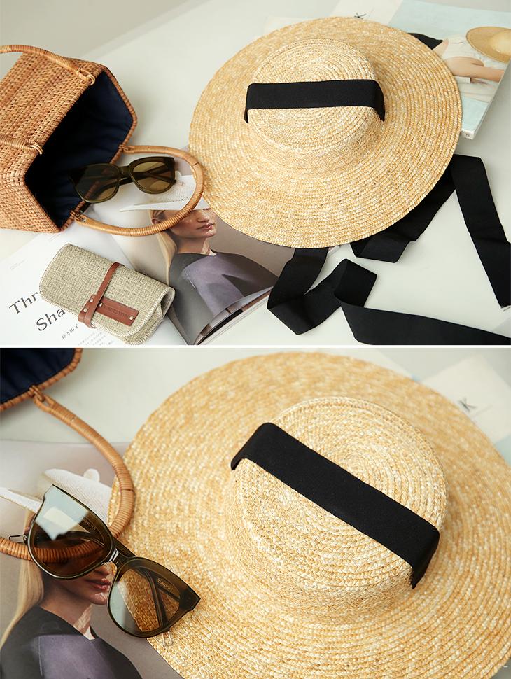 AC-515 Haidun Black line Raffia Hat