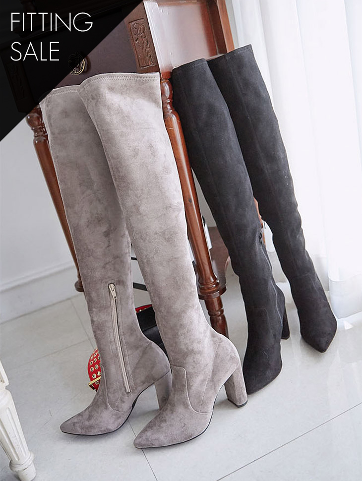 PS1545 line Suede High Boots heel boots - Fitting Sale *