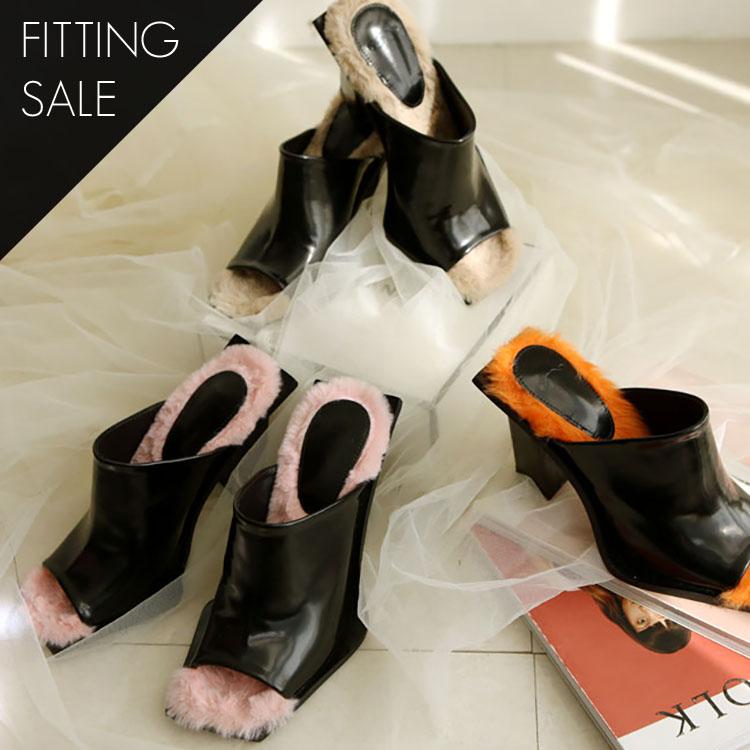 PS1547 Mine Open Toe Fur Mule * Fitting Sale *