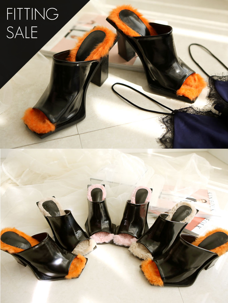 PS1547 Mine Open Toe Fur Mule * Fitting Sale *