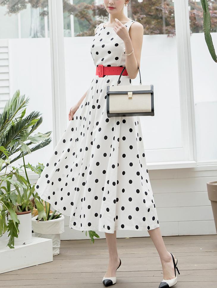 D3789 Dot Linen Princess Dress (Beltset) (9reorder)