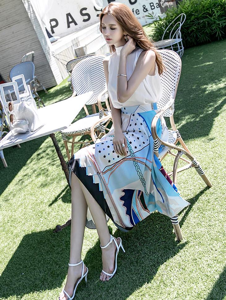 SK1748 Summer mix Printing Unbalance Skirt (38reorder)