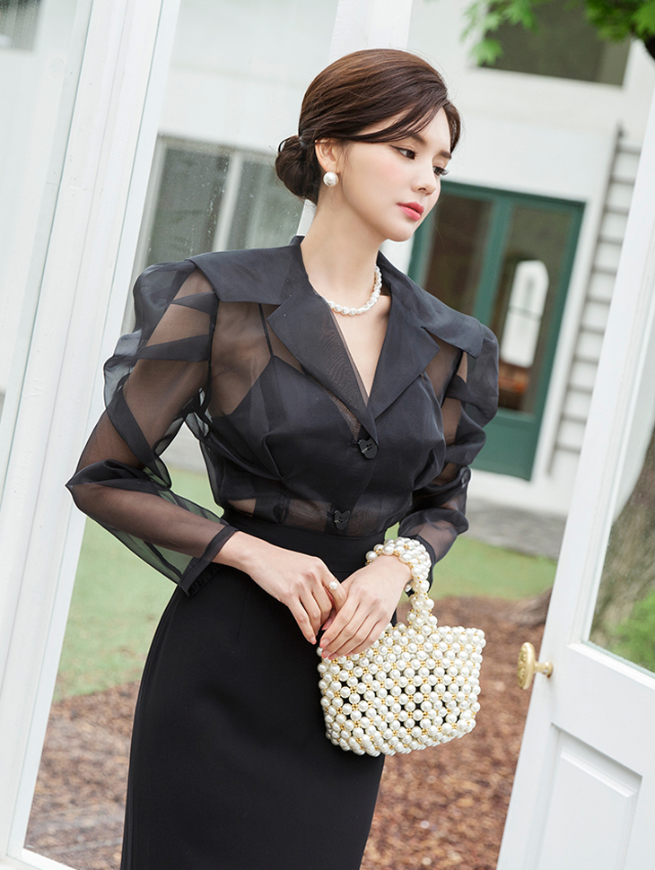 B2420 See-through look Puff Blouse