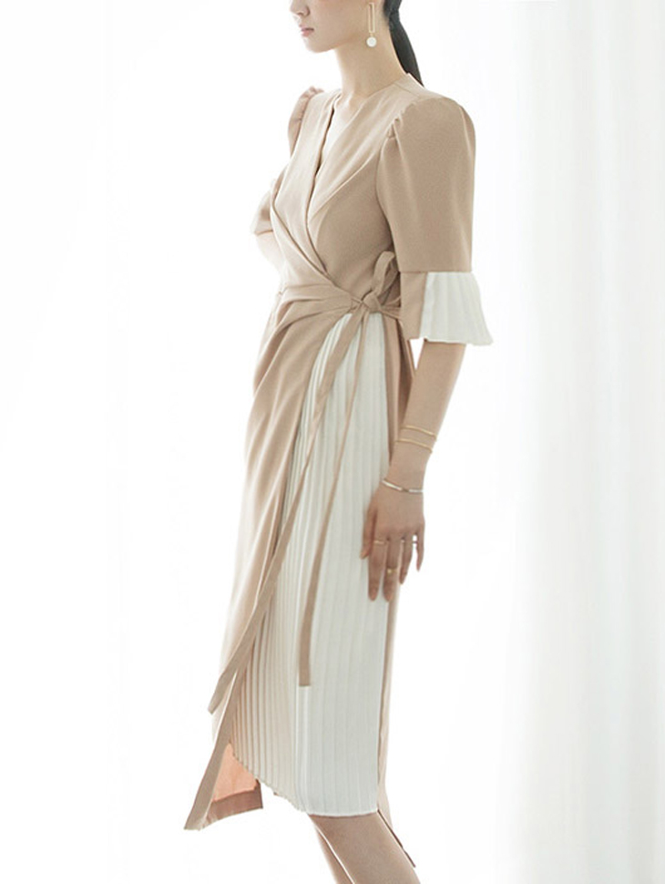 D3794 Blondie Pleats Wrap Dress (6reorder)
