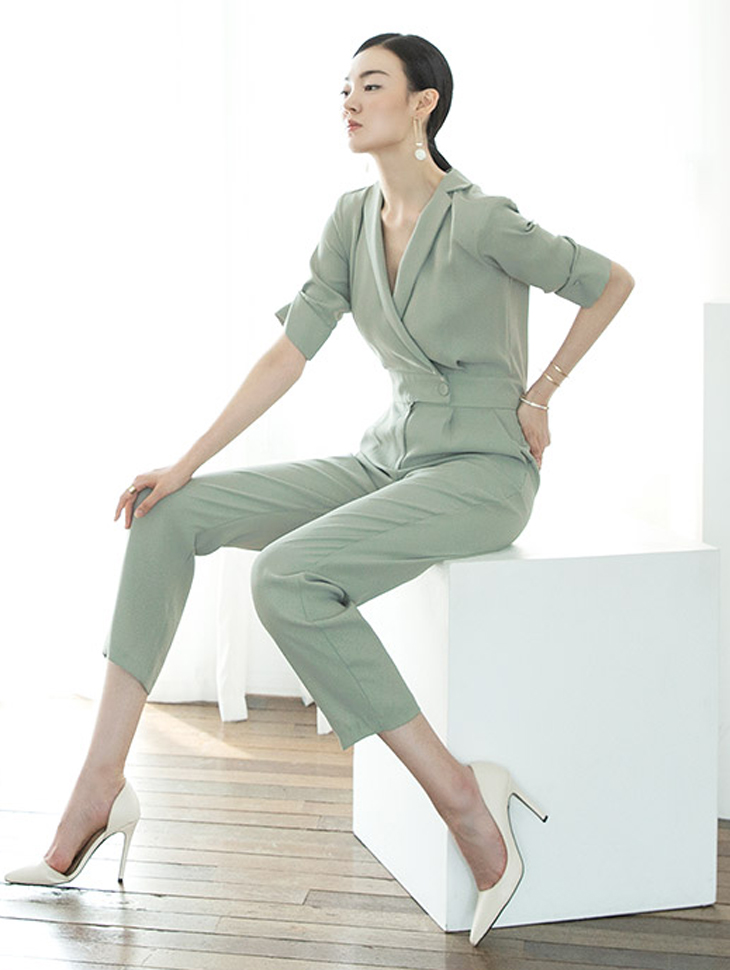 D3792 Waist button-up jump suit (6reorder)