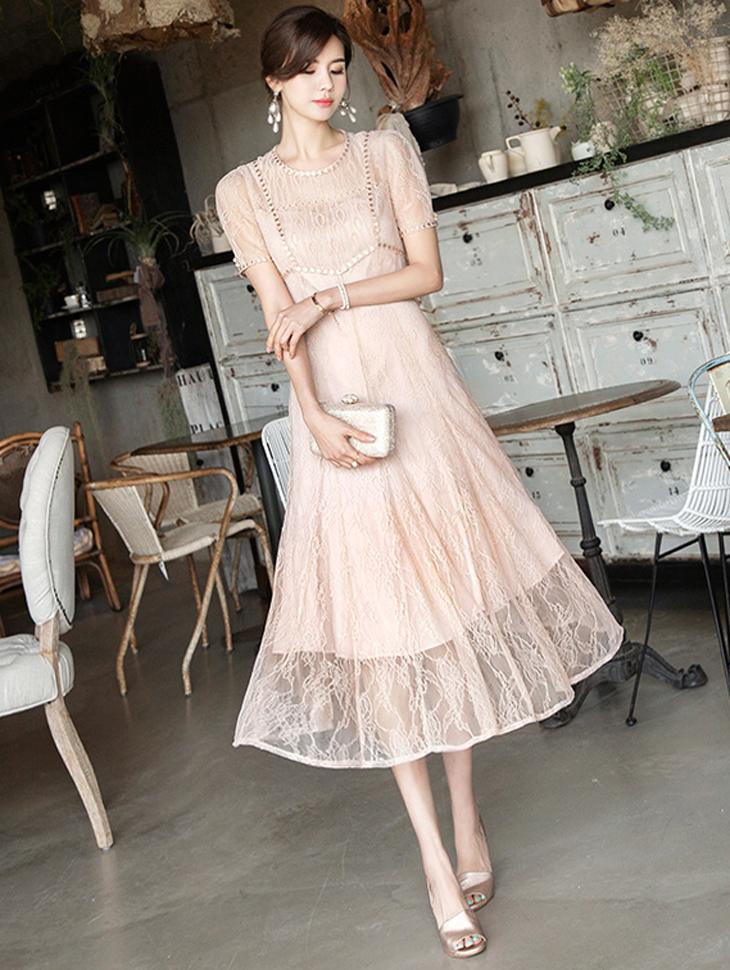 D3802 Hers Lace Long Dress