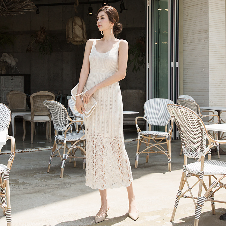 D3796 Holed Sleeveless Net Dress (61th REORDER)