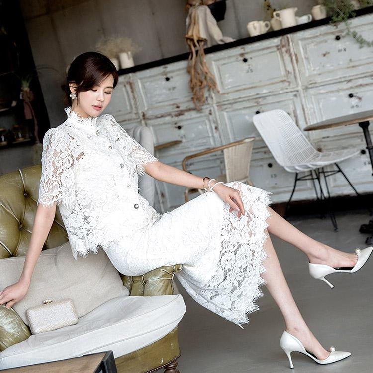 SK1898 Dacel Lace Button Skirt * L size production *