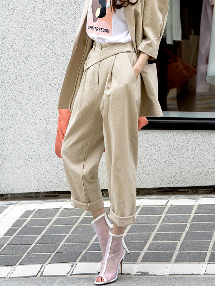 P2059 Ailey  Roll-up Linen Pants