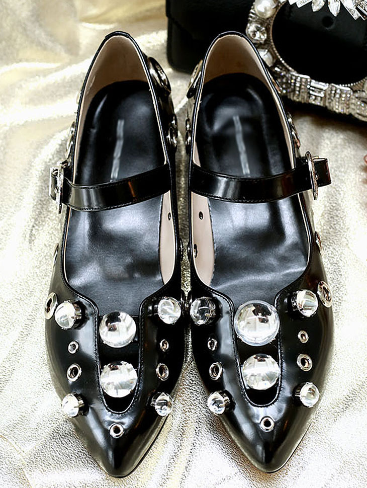 DTHAR-007 JEWEL Belted low heel shoes * HAND MADE *