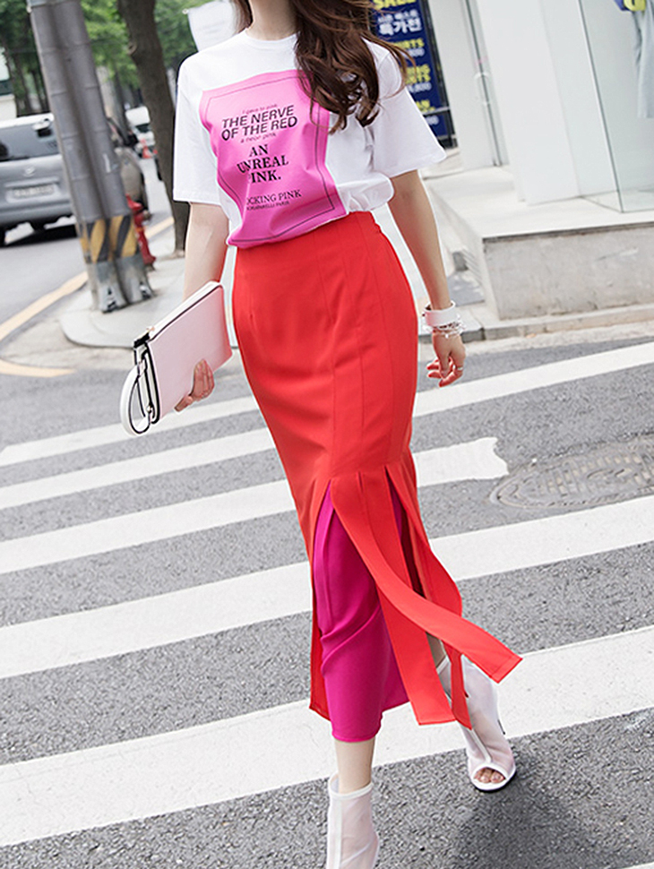SK1901 Color effect Pleats Skirt (6reorder)