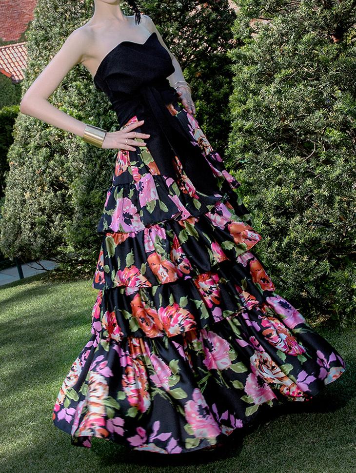 SK9046 Elish Flower cancan Long Skirt