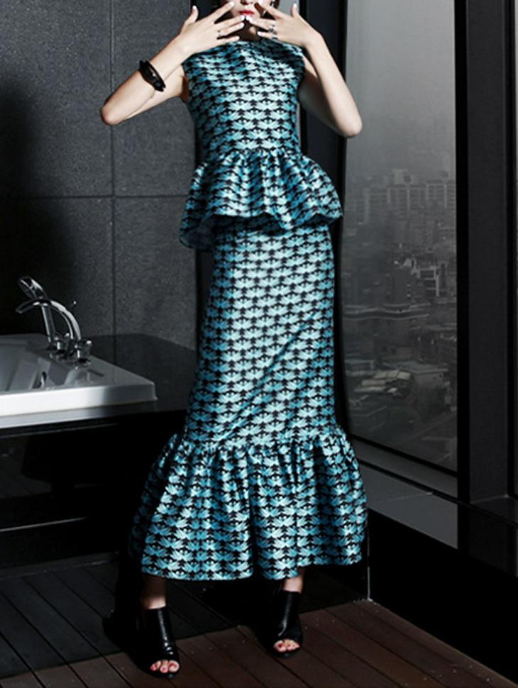 SK1276 Swan Glossy Frill Long Skirt